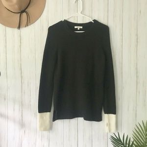Madewell | Black Sweater With White Cuffs Size S